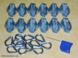 Pack haubanage renforcé: 12 attaches + clé de réglage + 12 cosses cœur